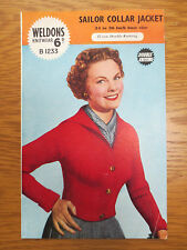 VINTAGE WELDONS Knitting Pattern 1950s Sailor Collar Jacket Cardi 34 - 36 inch