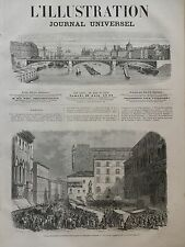 L' ILLUSTRATION 1866 N 1218 TROUPES ITALIENNES SUR LA PLACE DU NEPTUNE A BOLOGNE