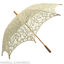 IVORY Battenburg Lace Bridal Wedding Sun Parasol Umbrella
