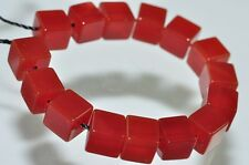 15Pcs 6x6mm Glowing~Natural CARNELIAN AGATE Chalcedony Small Cube Beads R0885