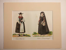German Print 1862 - 2 women, peasant and servant traditional costume hand colour