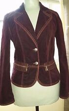 CHICO'S Ladies Burgundy Velvet Gold Top Stitched Dress Jacket Sz 0 (2/4) EUC