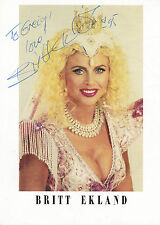 EARLY BRITT EKLAND HAND SIGNED & DEDICATED PROMO PHOTOGRAPH 7 x 5