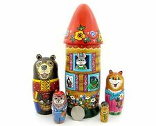 Genuine Russian HAND PAINTED 5 nesting dolls Fairy tale TEREMOK Bear Fox Rabbit