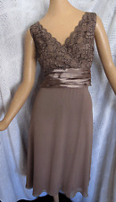 PATRA TAUPE CHIFFON  LACE TOP RUCHING EVENING COCKTAIL MID CALF DRESS  12