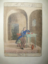 ANTIQUE 1800`S RUSSIAN IMPERIAL MINIATURE WATERCOLOR ON CARD PRISON