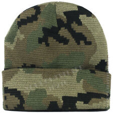 Plain Beanie Cap Camo Army Military Hunting Tactical Knit Ski Thick Winter Hat