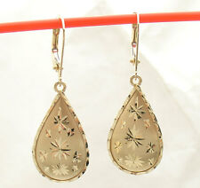 "1.5"" Diamond Cut Dangle Drop Earrings with Leverback Real 14K Yellow Gold 1.8gr"