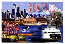 Seattle Washington Postcard Ferry Boats Space Needle Pike Place Market Stadiums