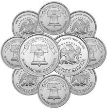 1 oz A-Mark Silver Round - 10 oz Total .999 fine (New, Lot of 10)