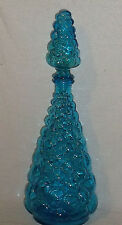 "Bubble Glass Decanter Genie Bottle 15.75"" Vtg Made in Italy with Stopper"