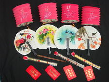 6 CHINESE RED LANTERN ENVELOPE CHOPSTICKS HAND FAN NEW YEAR JAPANESE PARTY SET