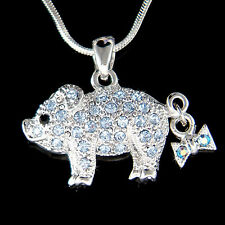 w Swarovski crystal ~Blue Pig Piggy Piglet Lover Charm Pendant Necklace New Cute