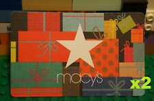 Macys HOLIDAY CHRISTMAS GIFT CARD x2 Card w/ Star & Gift Wrap Design No Value
