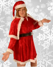Mrs Santa Mother Christmas Xmas Velvet Fancy Dress Costume Plus Size XL 18-22