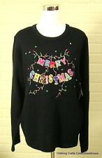 Womens Christmas Sweater Black Size 2XL (20) Merry Christmas Lights NWT