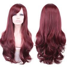 Womens Girls Bang Burgundy Sexy Long Wavy Curly Fashion Hair Full Wig Club Cutie