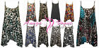 NEW WOMENS PLUS SIZE SLEEVELESS STRAPPY CAMI LONG SWING PRINT VEST TOP DRESS