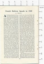 ZAS31m French Railway Speeds in 1935 6 page magazine article 1936