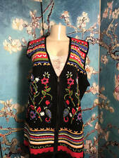 WHITE STAG PLUS 18/20 W BLACK EMBRODRIED FLORAL ZIP DOWN SLEEVELESS SWEATER VEST