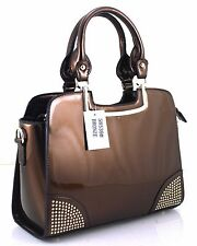 Large Ladies Studded Office Patent Briefcase Satchel Tote Handbag Bronze