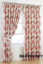 """New Raspberry Botanical Garden Pair Of Tape Top Lined Curtains W46 X 90"""" Drop"""