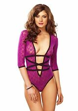Purple Deep-V Wrap Teddy, Leg Avenue, Sexy Lingerie, 3/4 Sleeves Bodysuit, Lace