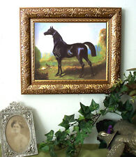 Dedreux Black Arabian Nissan Horse Print Antique Style Framed Pony sh 11X13
