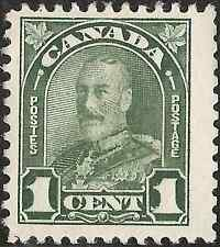 UNUSED 1930 MH CANADA King George V. STAMP 1 cent GREEN