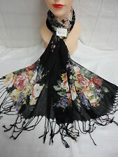 BEAUTIFUL FLORAL PRINT LIGHT WEIGHT SCARF OR WRAP COLOR BLACK