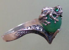 GREEN Ring Frog Feng Shui Money Natural Jade size 8,5 USA size, size R - UK