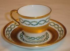 Mintons Demitasse Cup and Saucer for Tiffany Gold Encrusted Green Laurel England