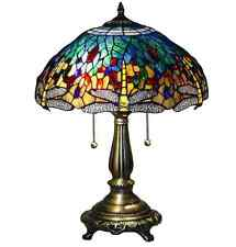 Tiffany Style Dragonfly Stained Glass Table Lamp Handcrafted Vintage Light Shade