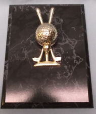 plaque crossed clubs and ball golf relief 6 x 8  black board trophy award