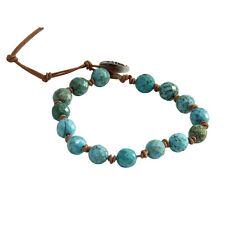 Kelitch Turquoise Beads on Leather Single Wrap Bracelet Fashion Bangle Jewelry