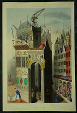 Architecture Rebuilding Troy Henry Shaw 1858 Hand Coloured Print
