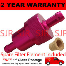 RED 8mm & SPARE ELEMENT METAL UNIVERSAL IN LINE FUEL FILTER ANODISED ALUMINIUM