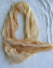 Soft Feminine Frilled Scarf Peach Colored Two-toned