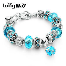 Silver Glass Beads Bracelet With Blue Crystal European Charms Fit Women
