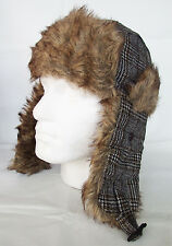 Trapper Hat Mens By JL Accessories Shooters Brown Tweed Wool Blend Faux Fur