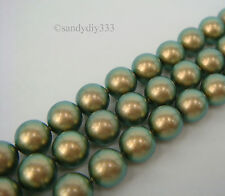 50x SWAROVSKI 5810 Iridescent Green 4mm CRYSTAL PEARL ROUND BEAD