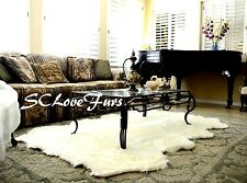 "48"" x 58"" Large Warm White Sheepskin Pelts Octo Sheep Area Rug Faux Fur Shag"