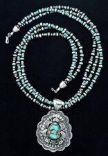 Native American Navajo Indian Jewelry SS 3 Strand NavajoPearl Turquoise Necklace