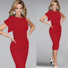 Sexy Women Ruffle Sleeve Ruched Party Wear Fitted Stretch Slim Formal Dress