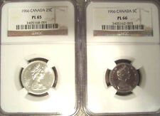 1 BID FOR 2 NGC PL66 & PL65 CANADA 1966 25c & 5c HIGHLY REFLECTIVE BLINDING SET