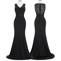Black Sleeveless V-Neck Evening Prom Party Dress Pageant Ball Gown UK Size 4-18