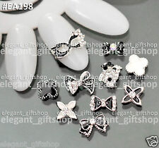 #EA198 10pcs  Assorted Alloy Jewelry Black & White Nail Art Tips Decoration