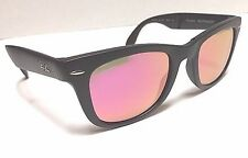 Ray Ban Folding Wayfarer Sunglasses RB 4105 601-S/4T Black with Pink Mirror Lens