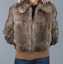 Rabbit Fur Bomber Jacket UK 14 Large Coat Brown Short (95B)