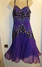 Niteline 10 Dress Heavy Beaded Floral Silver Royal Purple Formal Gown Princess